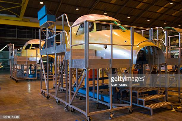 Airplane industry with airplane heads locked in cages