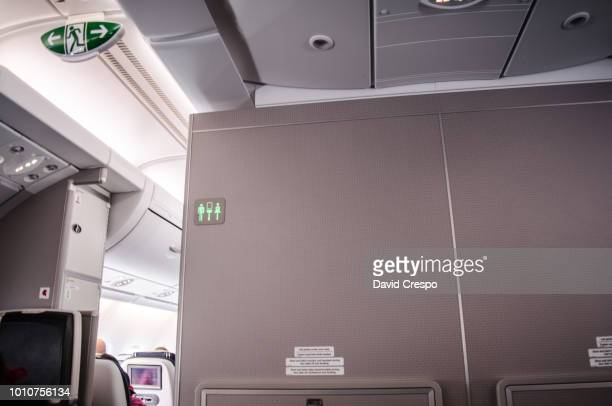 airplane inside - airplane bathroom stock pictures, royalty-free photos & images