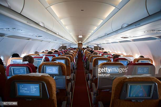 airplane interior - vehicle interior stock pictures, royalty-free photos & images