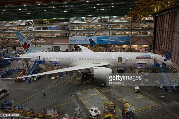 A 787 airplane is manufactured at the Boeing Co facility in Everett Washington US on Monday June 1 2015 Flow a measure of the time needed to put...
