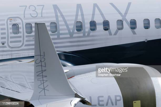 MAX airplane is pictured on he tarmac with its signature winglet and fuel efficient engines outside the company's factory on March 11 2019 in Renton...