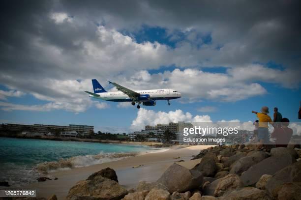 Airplane Landing at Airport, St. Maarten, DWI, Caribbean.