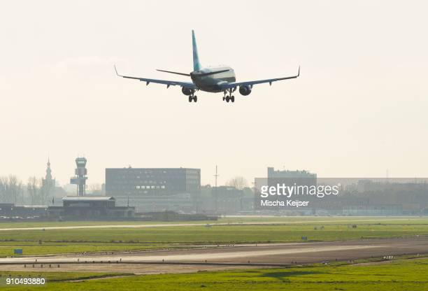 Airplane landing at Hague airport, Rotterdam, South Holland, Netherlands, Europe
