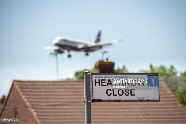 Airplane landing at Heathrow Airport, London, UK