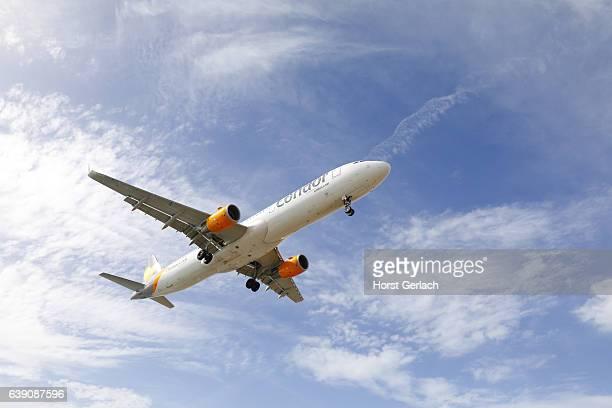 Airplane landing at Lanzarote Airport