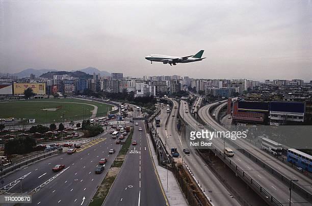 Airplane Landing in Hong Kong