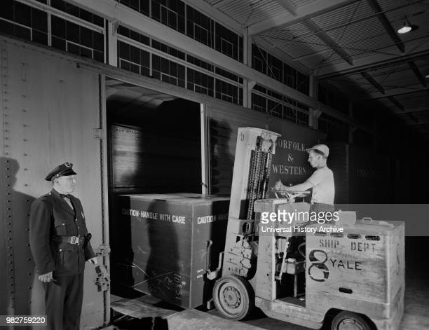 Airplane Motor is Loaded on Freight Car from Platform of Manufacturing Plant Pratt Whitney East Hartford Connecticut USA Andreas Feininger for Office...