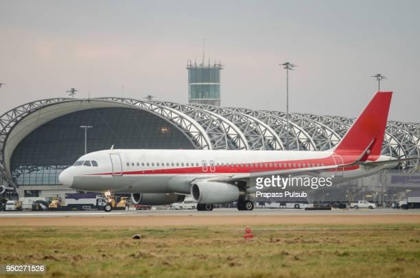 Airplane near the terminal in an airpor
