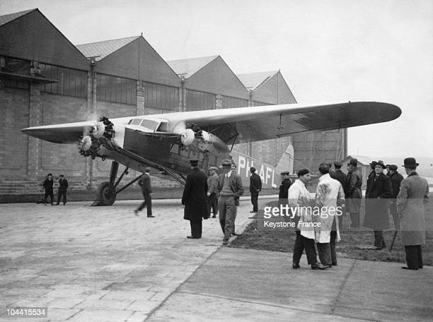 FOKKER airplane of the Dutch air company KLM at Croydon airport in Great Britain on February 5 1931 The aircraft linked Batavia in Indonesia to...