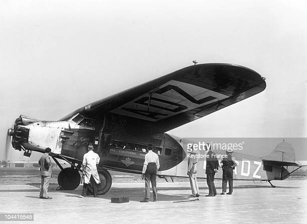 FOKKER airplane of the KLM company linking Paris to Stockholm on the runway of the Bourget in July 1929