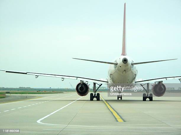 airplane on runway ready for take off