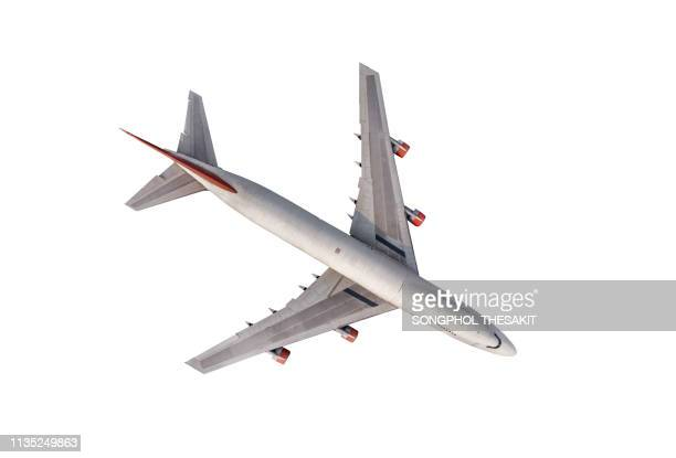 airplane on white background - aircraft wing stock pictures, royalty-free photos & images