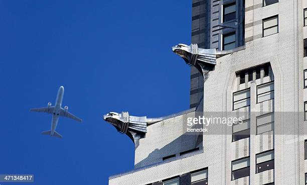 Airplane over Manhattan, New York City, USA