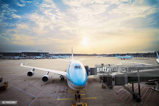 airplane parked at gate at sunset - 仁川 ストックフォトと画像