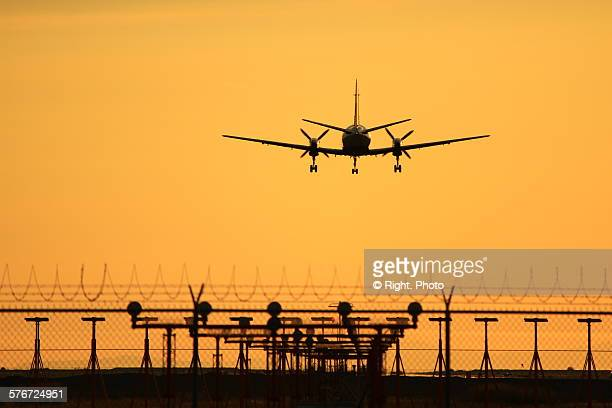 airplane - richmond british columbia stock photos and pictures