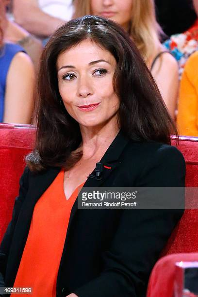 Airplane pilot paraplegic Dorine Bourneton presents her book 'Au dessus des nuages' during the 'Vivement Dimanche' French TV Held at Pavillon Gabriel...