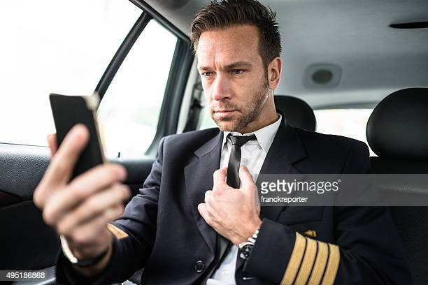 Airplane pilot take a selfie in the taxi