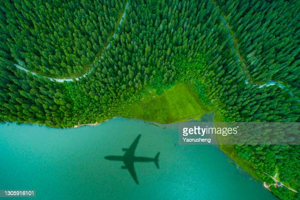 airplane shadow over the island forest,green concept - aeroplane stock pictures, royalty-free photos & images