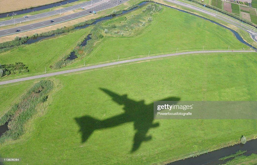 Airplane shadow : Stock Photo