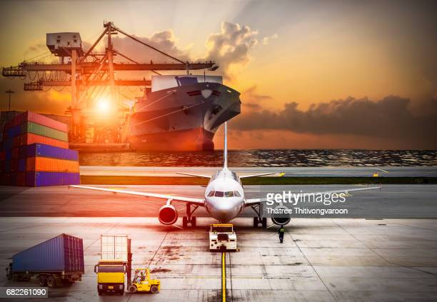 Airplane shipping delivery transfer with Logistics and transportation of Container Cargo ship and Cargo plane