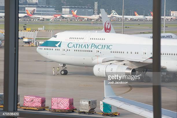 747 airplane sits on tarmac at Jakarta International airport