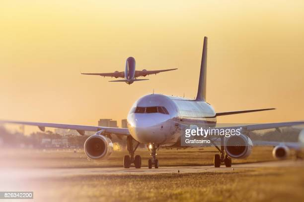 Airplane standing on airfield in Buenos Aires Argentina waiting for take off