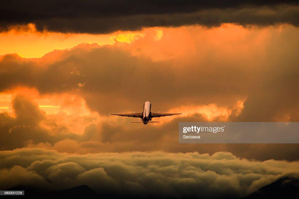 Airplane sunset : Stock Photo