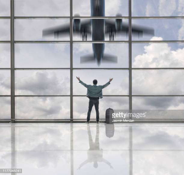 airplane taking off in airport terminal - defocussed stock pictures, royalty-free photos & images