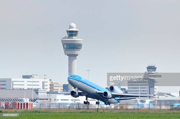 klm airplane taking off - schiphol airport stock photos and pictures