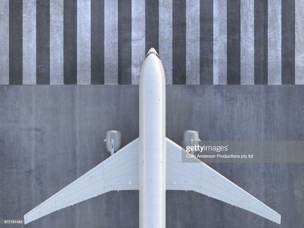 Airplane viewed from directly above : Stock Photo