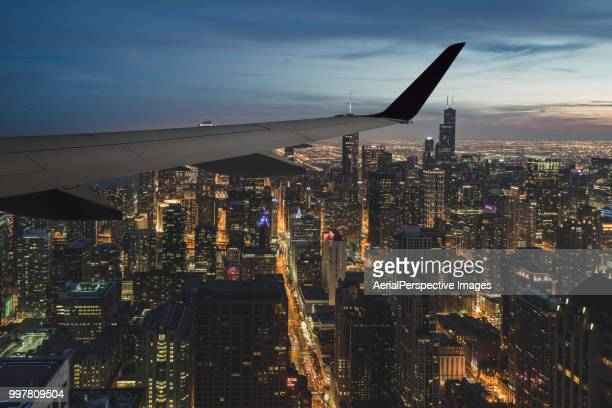 Airplane Wing over Chicago / Illinois