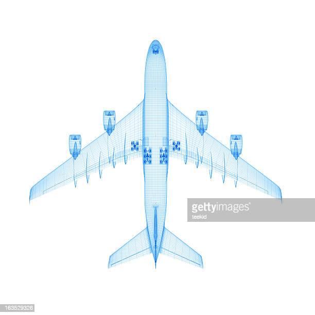 Avião em modelo de arames
