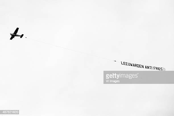 Airplane with banner Leeuwarden anti fries during the Dutch Eredivisie match between sc Heerenveen and SC Cambuur Leeuwarden at Abe Lenstra Stadium...