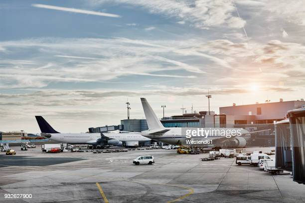 Airplanes and vehicles on the apron at sunset
