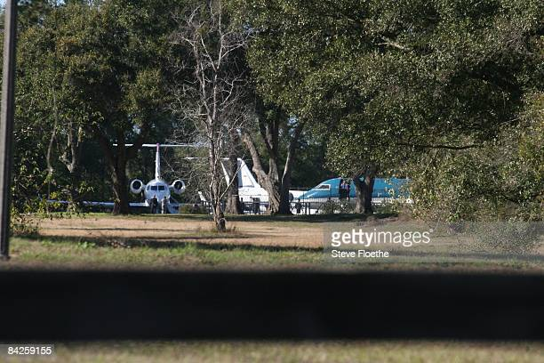 Airplanes are parked on the Travolta property on January 8 2008 in Ocala Florida Jett Travolta John and Kelly's 16yearold son died while on a family...