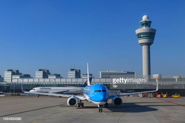 Airplanes at Amsterdam Schiphol airport in Holland