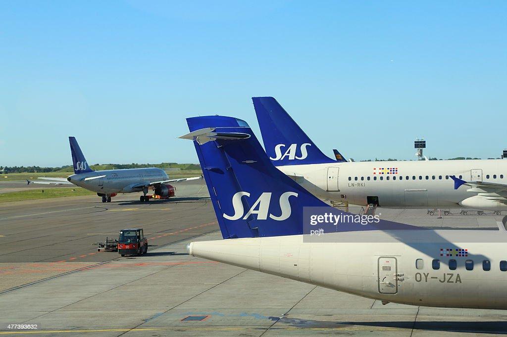 SAS airplanes at Copenhagen Airport - Kastrup : Stock Photo