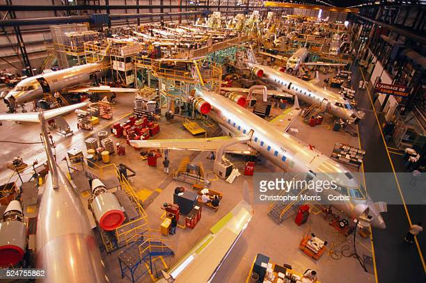 Airplanes in the Canadair production facility in Quebec City Quebec are seen
