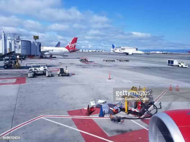Airplanes including several Virgin America aircraft on the tarmac at San Francisco International Airport San Francisco California September 13 2017