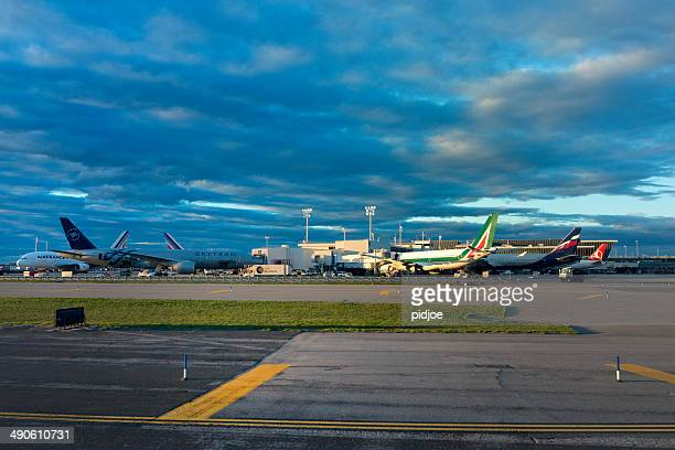 Airplanes loading on airport JFK, New York