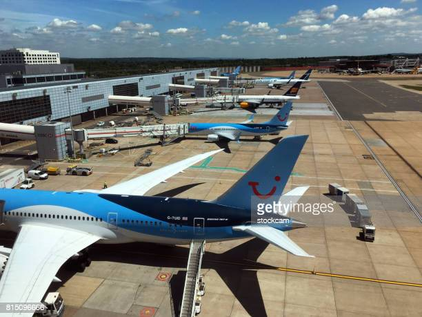 Airplanes on their gates, Gatwick Airport
