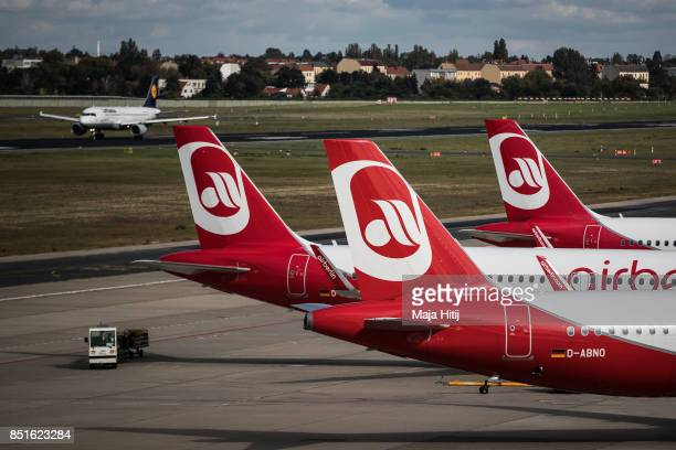 Airplanes operated by German airline 'air berlin' are seen at Tegel airport in Berlin on September 22 2017 in Berlin Germany