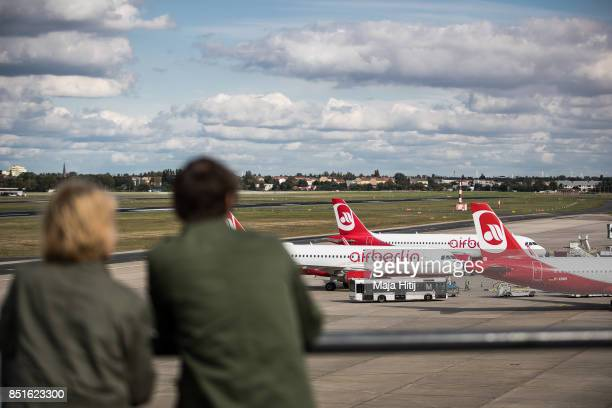 Airplanes operated by German airline 'air berlin' are seen at Tegel airport in Berlin on September 22 2017 in Berlin Germany