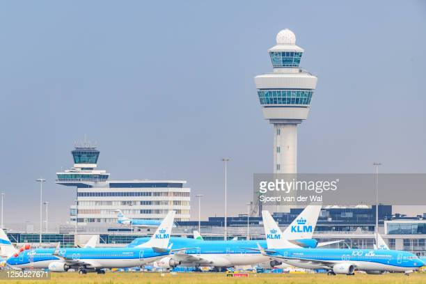 airplanes parked on the tarmac of Schiphol Airport on June 18 near AmsterdamNetherlands After the COVID19 crisis KLM is starting their services again...