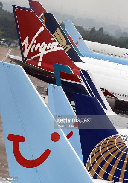 Airplanes sit at Manchester Airport in Manchester, northwest England, on September 12, 2008. Britain's third largest tour operator, XL Leisure Group,...