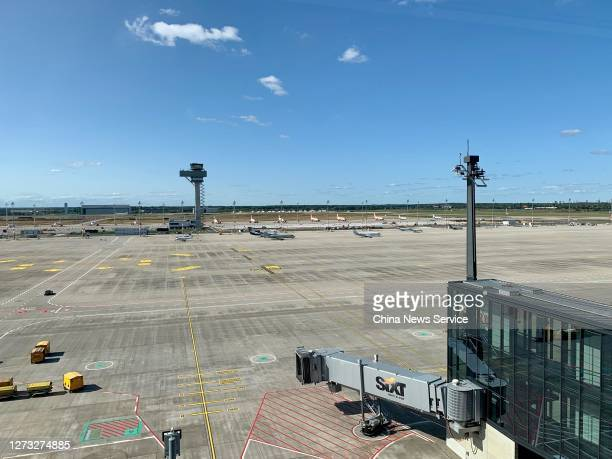 Airplanes sit parked at Berlin Brandenburg Airport on September 17, 2020 in Schoenefeld, Germany.