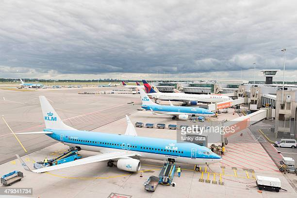 Airplanes taxied at Schiphol Airport