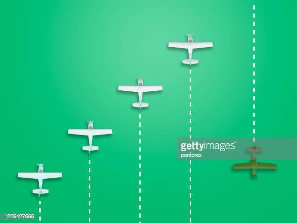 airplanes teamwork concept - 3d rendering - wrong way stock pictures, royalty-free photos & images