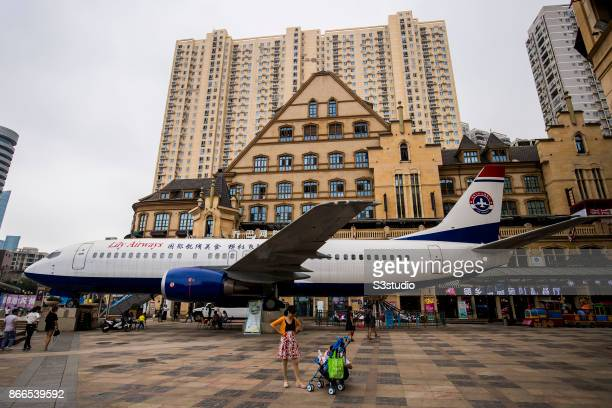 Airplanethemed restaurant Lily Airways located at Optics Valley Pedestrian Street one of the longest commercial walking streets in the world is seen...