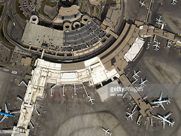 airport aerial photo - airport terminal stock photos and pictures